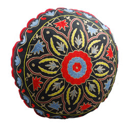 Black Starburst Round Floor Pillow - The best seat in the house may be at ground level. This beautifully hand-embroidered, crewelwork floor pillow makes a comfy lounging alternative in your living room, family room or kid's room.