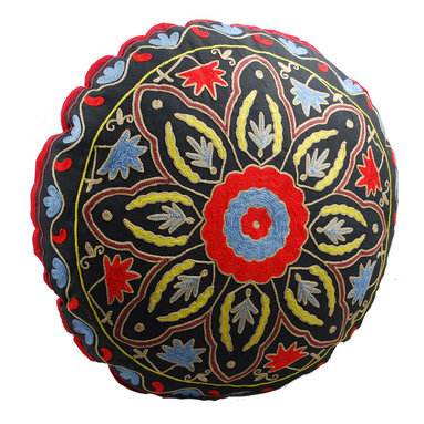 Modelli Creations - Black Starburst Round Floor Pillow - The best seat in the house may be at ground level. This beautifully hand-embroidered, crewelwork floor pillow makes a comfy lounging alternative in your living room, family room or kid's room.