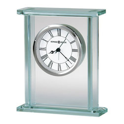 Howard Miller - Howard Miller Cooper Table Alarm Clock - Howard Miller - Alarm Clocks - 645643 - This modern contemporary table alarm clock has a radiant new urban character that is sure to be an attractive addition to any mantel or table top. Distinguished by its glass paneling with beveled sides and matching rectangular glass base and crown, the Cooper has a sleek vibe to it. A floating white dial with classic Roman numerals and polished chrome bezel pair with battery-operated quartz alarm movement to complete the appeal of the Cooper Table Alarm Clock.