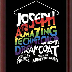 "Amanti Art - Joseph and the Amazing Technicolor Dreamcoat (Hanger) Framed Print - The imagination and color of Andrew Lloyd Webber's Broadway production of ""Joseph and the Amazing Technicolor Dreamcoat"" are captured perfectly with this accompanying poster print. This musical's artwork will also be music to your eyes hanging proudly on your wall of fame."