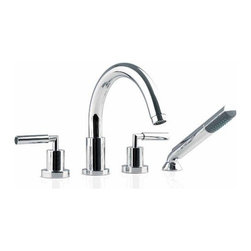 Neptune - Neptune | Taron Bathtub Faucet Set - Made by Neptune. A part of the Taron Collection. The Taron Bathtub Faucet Set is a deck-mount luxury faucet set that can be installed into the top of the bathtub itself. This ergonomic, sleek, and easy-to-use set brings enjoyment into every bath. The retractable hand-held shower head maintains a clean appearance while providing a steady and comfortable water pressure. The fluid design will enhance modern bath décor without overshadowing established motifs. Made from a durable, rust and corrosion resistant stainless steel. Product Features:
