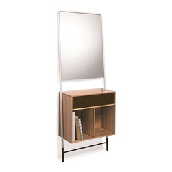 WS Bath Collections - Posa Bamboo Console With Mirror - Posa by WS Bath Collections, Natural Bamboo Console with Painted Metal Drawer and Mirror Available in White, Red, Brown, Orange, Pink or Dark Grey, Console with Metal Drawer, Structure and Mirror Console, Made in Italy