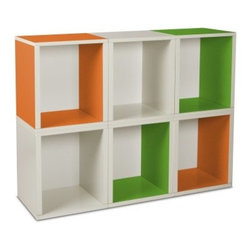 Way Basics Modular 6 Cube Tall Bookcase - Green/Orange/White - Getting organized is never boring with the fun style of the Way Basics Modular 6 Cube Bookcase Green/Orange/White. Just stack them up any way you want to create a colorful storage space for books, magazines, toys, games, or other media. These eco-friendly storage cubes are also easy on the planet and are manufactured with durable zBoard recycled paperboard material, making them lightweight, strong, water resistant and best of all, completely recyclable. Assembly is no problem; just peel and stick the 3M Brand adhesive strips and assemble. That's right, no tools required.About Way BasicsWay Basics is an innovator of eco-friendly furniture and has been creating a wide variety of products using recycled materials for their customers to enjoy in the home and office. Their products require no tools to assemble and are designed to add style and function to any space without leaving a heavy footprint on the environment. Way Basics also works with furniture banks and charities around the globe to help those families in need and is a founding member of the Sustainable Furnishings Council, a coalition united to promote environmentally healthy practices in the industry.