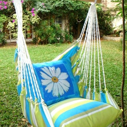 Beach Boulevard Stripe w/Daisy Swing Set - Forget that long drive to the beach.  Just head out into your own backyard and spend some quality time with a good book and a cold glass of lemonade in the Beach Boulevard Swing Set.
