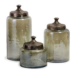 "IMAX CORPORATION - Round Green Luster Canisters - Set of 3 - Attractive round hammered luster glass canisters with hammered nickel lids. Set of 3 in various sizes measuring around 20.75""L x 17.75W"" x 18.25""H each. Shop home furnishings, decor, and accessories from Posh Urban Furnishings. Beautiful, stylish furniture and decor that will brighten your home instantly. Shop modern, traditional, vintage, and world designs."