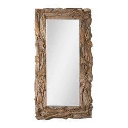 Joshua Marshal - Teak Root Natural Mirror w/ Sculpted Teak Root Frame - Teak Root Natural