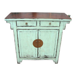 Chinese Antique Hall Chest Refinished In Stunning Turquoise Blue - Wonderful Chinese antique hall chest is refinished in turquoise blue and iron hardware. Hand rubbed finish allows some wood tones to emerge. Solid Elm wood with two doors and two drawers and shelf.  This Chinese cabinet is about  80 to 100 years old, we found this item in Northern China and had it refinished by our staff in China. Dimensions: 42 inches by 17 inches deep by 37 inches high. What a great conversation piece for any room or entry way.