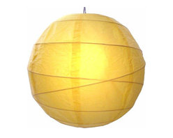 "Oriental-Decor - Sunny Yellow Globe Lantern, 16"" - Yellow is a very spiritual color in Asian culture and Buddhism. It is very closely associated with the color gold and the enlightened state. Yellow is also a vibrant color that gives off energy and good cheer. Hang one, or a series, of this beautiful paper lantern for a festive look and a decorative effect."