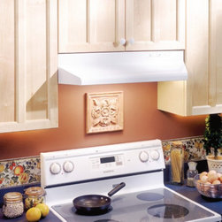 Broan-NuTone - Broan 30W in. Under Cabinet Range Hood with Two Speed Fan - 523001 - Shop for Hoods and Accessories from Hayneedle.com! With the Broan 30W in. Under Cabinet Range Hood with Two Speed Fan you can effectively remove kitchen odors without breaking the bank. This HVI Certified and UL Listed unit is economical and designed to use 5-in. vertical duct attachments. It's equipped with incandescent lighting to provide extra illumination for your cook-top. With a two-speed fan control you are in complete control of this efficient 100 CFM hood. Caring for the unit is easy with its removable and washable aluminum filter.Its sleek design with tapered sides and a hemmed bottom is an easy way to enhance the look of your kitchen. You'll discover these design features also make cleaning easier and safer. With a variety of colors to choose from finding just the right one is never a problem.About Broan-NuTone Ventilation:Broan-NuTone has been leading the industry since 1932 in producing innovative ventilation products and built-in convenience products all backed by superior customer service. Today they're headquartered in Hartford Wisconsin employing more than 3200 people in eight countries. They've become North America's largest producer of residential ventilation products and the industry leader for range hoods ventilation fans and heater/fan/light combination units. They are proud that more than 80 percent of their products sold in the United States are designed and manufactured in the U.S. with U.S. and imported parts. Broan-NuTone is dedicated to providing revolutionary products to improve the indoor environment of your home in ways that also help preserve the outdoor environment.