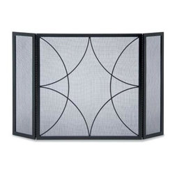 Pilgrim Home and Hearth - Napa Forge Forged Diamond 3 Panel Screen - Pilgrim Home and Hearth Napa Forge Diamond 3-panel folding screen with black finish