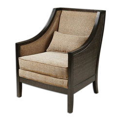 "Uttermost - Gilchrist Armchair - ""Open a book and stay awhile."" That's what this armchair is saying to you. Why rush off when you can sink into the plush, natural brown cheetah chenille with a lumbar pillow to support your tired back? All you need now is someone to bring you your favorite beverage."
