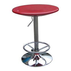"""Boraam - Boraam Luna Adjustable Pub Table in Red - Adjustable Pub Table in Red in the Luna Collection by Boraam Want to brighten up your game room or bar area? The Luna Adjustable Pub Table would add color to any room. Available in black, red and white this table is a standout! This ultra modern pub table can be easily adjusted from 33"""" to 39"""" using air lift technology. With a swivel top and a chrome base, this table would be the perfect accent piece to any room!"""