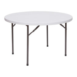 PRE Sales - 48 Inch Round Table - Perfect for residential use. Lightweight, and easy to set up. Sturdy double-braced steel legs. 400 lb. load capacity. Easy to wipe clean. Easy storage with folding legs. Weather resistant. 1 year limited warranty. 48 in. L x 48 in. W x 30 in. H (31 lbs)Having a few guests over for a barbeque ? Our plastic folding tables are perfect for the quick, easy set up you need so everyone can be served together. And clean up is a snap, with just a quick wipe down of the plastic tops. You don't even have to use linens -- but these tables work well if you do choose to cover the