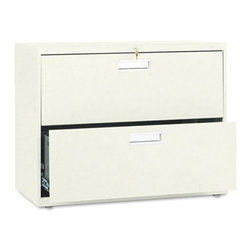 HON - HON 600 Series 36 Inch Two Drawer Lateral File - HON682LL - Shop for File and Storage Cabinets from Hayneedle.com! Perfect for any office the HON 600 Series 36-Inch Two-Drawer Lateral File keeps all your files and folders safe and secure. This wide file cabinet has two generously sized drawers that hold letter or legal folders. A lock at the top controls all openings and the mechanical interlock feature allows only one drawer to open at a time to prevent the file cabinet from tipping.Designed for intense daily use this file cabinet has a three-part telescoping slide suspension and leveling glides are adjustable for uneven floors. It is available in your choice of putty black light gray or light charcoal finish. Delivered fully assembled. Dimensions: 36W x 19.25D x 28.375H inches.About the HON CompanyHeadquartered in Muscatine Iowa the HON Company is established as a leader in the office furniture industry. The HON Company designs and manufactures products including chairs files panel systems tables and desks. With several national manufacturing facilities the company provides products through a system of dealers and retailers throughout the United States.As the landscape of today's office and classroom continues to change with new technologies the HON Company has created office furniture teacher stations and student desks that anticipate and adapt to the newest waves of high-tech products. Additionally in an effort to think and act green the HON Company uses less packing material reduces their amount of fabric waste and uses recycled wood from other furniture.