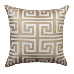 Mykonos Pillow, Gold - This pillow's Greek key design will make an elegant and chic addition to any sofa or club chair.