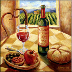 The Tile Mural Store (USA) - Tile Mural - Tuscan Luncheon II  - Kitchen Backsplash Ideas - This beautiful artwork by Joanne Margosian has been digitally reproduced for tiles and depicts a kitchen scene with wine, bread and fruit.    Our kitchen tile murals are perfect to use as part of your kitchen backsplash tile project. Add interest to your kitchen backsplash wall with a decorative tile mural. If you are remodeling your kitchen or building a new home, install a tile mural above your stove top or install a tile mural above your sink. Adding a decorative tile mural to your backsplash is a wonderful idea and will liven up the space behind your cooktop or sink.