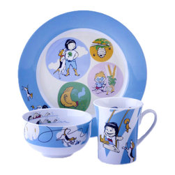 "Livliga - Kidliga Children's 3-Piece Dinnerware Set and Book, Blue - Kidliga is right-sized portion control dishware made just for kids. With its imaginative design and compelling characters it makes eating a balanced meal fun. Each piece of the Kidliga portion control dinnerware is designed to look striking as a suite of dishware. Each dish also has its own unique portion indicators/measurements with self explanatory images to guide kids in using the right amount of food as described by a recipe or single serving noted on the side of a package. Each dinner plate has a ""map"" on the back of the serving sizes and food groups for each icon and each dish in the suite for easy use."