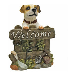 """EttansPalace - Terrier Dog Welcome Statue Sculpture - Our amazingly life-like Jack Russell Terrier dog welcome sculpture has neither a bark nor a bite worth worrying over! Complete with a happy Jack Russell Terrier with shining eyes and wet nose, this fun-loving animal statue is sculpted 360 degrees so you can even see his wagging tail! Cast in quality designer resin, this sculpture is hand-painted one piece at a time. Our Jack Russell Terrier dog welcome statue is the perfect house-warming gift for someone who truly appreciates """"mans best friend!"""""""