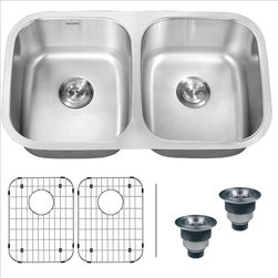 Ruvati - Ruvati RVM4300 Under mount Kitchen Sink - Maintaining a classic look that will complement any kitchen with the beauty and functionality of large, deep bowls with classic rounded corners, the Parmi series is still streamlined enough to be the centerpiece of any countertop.