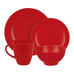 Waechtersbach - Fun Factory Place Setting, Red, 4 Piece - Bring contemporary style to your table with the Fun Factory Red 4-Piece Place Setting. Combining clean lines with solid color, this casual dinnerware set was created with everyday meals in mind. Service for one. Includes dinner plate, salad plate, soup/cereal bowl, and mug.