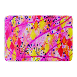 "KESS InHouse - Ebi Emporium ""Into the Fall 2"" Pink Yellow Memory Foam Bath Mat (24"" x 36"") - These super absorbent bath mats will add comfort and style to your bathroom. These memory foam mats will feel like you are in a spa every time you step out of the shower. Available in two sizes, 17"" x 24"" and 24"" x 36"", with a .5"" thickness and non skid backing, these will fit every style of bathroom. Add comfort like never before in front of your vanity, sink, bathtub, shower or even laundry room. Machine wash cold, gentle cycle, tumble dry low or lay flat to dry. Printed on single side."