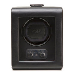 WOLF - Heritage Single Watch Winder w/cover in Black - A watch can be an important (and expensive) investment. If it's an automatic watch, it needs special attention and this black watch winder will take care of it for you. It's the only way to keep on ticking when it's not on your wrist.