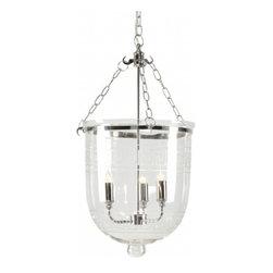 Cala- Lantern, Bell Jar - Cala Lantern- Classic Bell Jar with Greek Key Etchings on Dome. Polished Nickel Hardware
