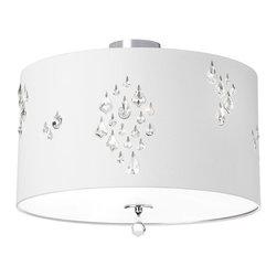 Dainolite - Dainolite 3LT Semi Flush - 3 Light Semi Flush Fixture with Crystal Accents, Polished Chrome, White Baroness Fabric
