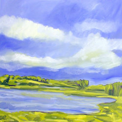 Untitled Landscape #3 - Let this fresh, happy painting wash your cares away. This large oil landscape by artist Steven Miller is sure to make a big impact in any room you choose. A seashore filled with fresh grass, a bright blue sky and white fluffy clouds makes for a deliciously happy combination, and the pop of lime-green foliage offers a striking contrast to the water and sky.