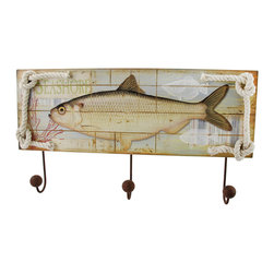 Wooden Fish Wall Plaque with Triple Hooks - This wall plaque adds decorative flair to your home while providing 3 hooks for hanging up jackets, hats, dog leashes, or reusable shopping bags. Made of wood, it measures 19 1/4 inches long, 6 3/4 inches tall, 2 1/2 inches deep, and the hooks are made of metal and painted with a rust finish for an antique look. It easily mounts to the wall with 2 nails or screws, and looks great anywhere in your home.