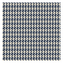 Blue Handwoven Houndstooth Fabric - Blue & cream woven cotton houndstooth that will cozy up the classic home.Recover your chair. Upholster a wall. Create a framed piece of art. Sew your own home accent. Whatever your decorating project, Loom's gorgeous, designer fabrics by the yard are up to the challenge!