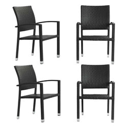 Modway - Bella Patio Chairs Set of 4 in Espresso - Relax in confidence, as you effortlessly unite diverse forces to take center stage. Wealth and success surround you and draw attention to greater heights. This outdoor wicker dining chair has a sturdy aluminum frame covered with an espresso rattan weave.