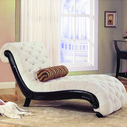 Stylish Seating - Off White Chenille Chaise
