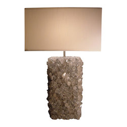 Kari Lobdell - Quartz Rock Crystal Lamp-Grey - The sophisticated dazzle of this unique, show-stopping lamp will light up your space before you even flip the switch. Gorgeous gray-quartz crystals comprise the substantial base while a white light-diffusing silk shade completes the luxurious, contemporary look.