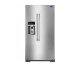 Maytag - MSB26C6MDM 26 cu. ft. Side-By-Side Refrigerator with BrightSeries Lighting  Spil - The MSB26C6MD Refrigerator from Maytag will bring elegance to your kitchen and freshness to your food It has stainless steel handles BrightSeries LED lighting ice and filtered water dispenser spill-catcher glass shelves humidity controlled FreshLock ...