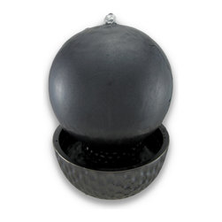 Metallic Black Porcelain Ball Fountain 10 Inch Diameter - This beautiful metallic black ball fountain makes a great addition to hallways, foyers, dens and patios. Made of porcelain, the fountain features a 10 inch diameter ball on top of a 3 inch high reservoir base. The water bubbles from a hole in the top of the ball, and runs down the sides of the ball to the reservoir. It comes with an electric pump. This fountain makes a great gift for friends and family.