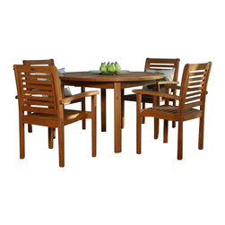 International Home Miami - Amazonia BT Milano Round 5-Piece Patio Dining Set - Great Quality, elegant design patio set, made of solid eucalyptus wood. FSC (Forest Stewardship Council) certified. Enjoy your patio with style with these great sets from our Amazonia outdoor collection