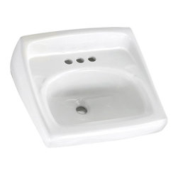 """American Standard - American Standard 0355.012.020 Lucerne Wall-Mount Sink, White - American Standard 0355.012.020 Lucerne Wall-Mount Sink, White. This wall-hung lavatory is constructed of vitreous china, and includes a front overflow, a wall-hanger mounting, a D-shaped bowl, a self-draining deck area with contoured back and side splash shields, and a faucet ledge. This model comes with 4"""" centered faucet mounting holes, and it measures 20-1/2"""" by 18-1/4"""", with a 6-1/2"""" bowl depth."""