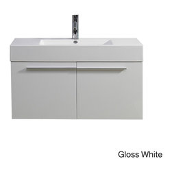 VIRTU - Virtu USA Midori 36-inch Single Sink Bathroom Vanity Set - The Midori single bathroom vanity set comes complete with 2 BLUM� soft closing doors and an integrated Polymarble basin.