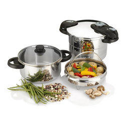 """Fagor - Futuro Pressure Cooker 5 Pc Set - 4 & 6 qt. nesting pots ( 6 qt pot fits inside 4 qt pot for easy storage). Pressure cooker lid (fits both pots). Tempered glass lid (fits both pots). Steamer basket/food grater and trivet. Instruction manual. """"Tastefully Under Pressure"""" full color cookbook. Constructed of 18/10 stainless steel . Exclusive triple valve safety system plus safety lock on handle prevents opening before all pressure is released.. Two independent over-pressure release valves assure no excess pressure build-up. . Automatic self-locking mechanism. Spring-type mechanism with two pressure settings: LOW (8psi) and HIGH (15psi). Works on all types of domestic stovetops: gas, electric, ceramic and induction.. Simple-to-use dial format makes it easy to regulate and release pressure, and remove for cleaning!. Select the automatic pressure release position to release pressure or the unlock position to remove for cleaning.. Visual pressure indicator on handle shows when all pressure has been released from cooker. . Complete with Instruction manual, """"Tastefully Under Pressure"""" full color cookbook, and a 10-year warranty. Easy to clean; the pressure cooker pot is dishwasher safe. HEALTHY. Create delicious meals while retaining water soluble vitamins & minerals. . Produces the tender taste of slow cooking in a fraction of the time. . Achieve superb flavor without the need for added fats and oils. . Maintains the natural vivid colors of foods. . Extremely versatile: cooks any kind of food from meats to veggies to desserts. . EFFICIENT. Simply the most efficient way to cook! . Reduces cooking time by up to 70%. . Fast cooking translates to less energy consumption. . Save time spent in the kitchen while preparing healthful recipes with all-natural ingredients. . Keeps heat in the pot and out of your kitchen environment. . Contributes to a reduced carbon footprint for a healthier lifestyle. Fagor's Futuro Pressure cooker model comes complete with compact handles for"""