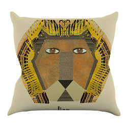 """Kess InHouse - Bri Buckley """"Lion"""" Yellow Orange Throw Pillow (16"""" x 16"""") - Rest among the art you love. Transform your hang out room into a hip gallery, that's also comfortable. With this pillow you can create an environment that reflects your unique style. It's amazing what a throw pillow can do to complete a room. (Kess InHouse is not responsible for pillow fighting that may occur as the result of creative stimulation)."""