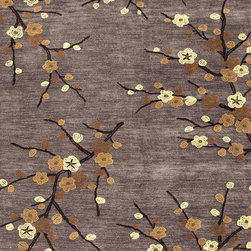 Jaipur Rugs - Transitional Floral Pattern Gray /Black Polyester Tufted Rug - BR16, 7.6x9.6 - A youthful spirit enlivens Esprit, a collection of contemporary rugs with joie de vivre! Punctuated by bold color and large-scale designs, this playful range packs a powerful design punch at a reasonable price.