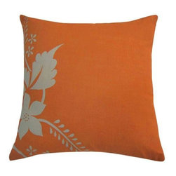Home Decorators Collection - Fairborn Pillow - The simple design of the Fairborn Pillow captures both a tropical and retro feel. A bright, yet warm orange background is enhanced by a single-toned floral motif on one edge of this home accent. Buy yours now.Polyester filled for lasting softness.Linen cover has timeless appeal.