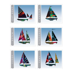 Set of 6 sailboat  giclee art prints for home, office, childrens, nursery decor - Set of 6 Sailboat giclee art prints. Nautical colorful sail boat art decor for beach home, blue wall art print from colorful painted paper collage artwork gradient blue sky background for home, office, bueiness childrens room or nursery decor. Great gift for sailors!