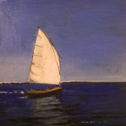 """Sailboat"" (Original) By Arun Prem - Sailboat At Sea On A Clear Day"