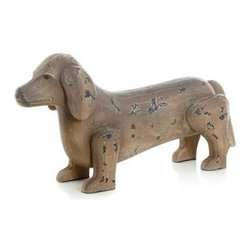 "Go Home Ltd - Antique Painted Finish Dachshund Dog by Go Home - This furry fellow is sure to please. On a bookcase or console meeting guests at your front entry, the Duchshund dog by Go Home is certainly man's best friend. Constructed of wood and handpainted to appear antiqued by artisans. (GH) 15"" long x 4"" deep x 8"" high"