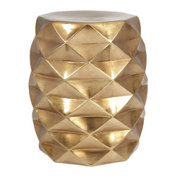 iMax - iMax IK Geometric Garden Stool X-49152 - The metallic gold and geometric shape of the geometric garden stool by designer Iffat Khan adds a contemporary shine to any display.