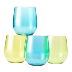 Cool Tone Wine Glasses - I love the sea glass–like shades of these wine glasses. They are perfect for seaside entertaining.