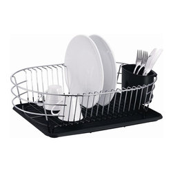 None - Extra Large Metal Wire Dish Rack with Drain Board - Perfect for organizing and drying your dishes,this metal dish rack features a round basket. The chrome plated rack also includes a silverware holder.