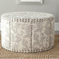 Safavieh - Safavieh Sherri Taupe Ottoman - I wish I could have a room of just ottomans. I like the simple damask pattern and rivets on this one.